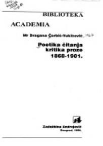 Poetika čitanja kritika proze 1868-1901.