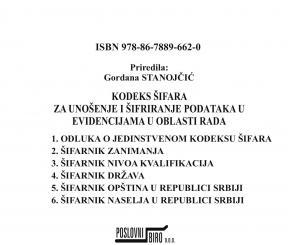 Kodeks šifara za unošenje i šifriranje podataka u evidencijama u oblasti rada